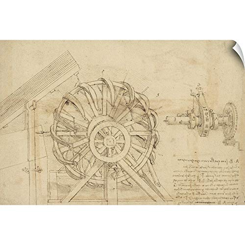 "CANVAS ON DEMAND Leonardo da Vinci Wall Peel Wall Art Print Entitled Great Sling, Wheel and crossbows Devices from Atlantic Codex 30""x20"""