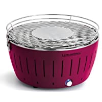 Lotusgrill Lotusgrill lila kleiner Edelstahl Stahl Kunststoff BBQ-Lotus Balkon Camping Picknick ✔ rund ✔ tragbar rauchfrei ✔ Grillen mit Holzkohle ✔ für den Tisch