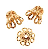 niceeshop(TM) Gold Plated Filligree Flower Cup Shape Bead Caps