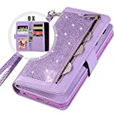 Galaxy S9 Bling Wallet Case for Women,Auker Trifold 9 Card Holder Folio Flip Glitter Sparkly Protective Leather Fold Stand Magnetic Wallet Case with Strap&Money Pocket for Samsung Galaxy S9 (Purple)