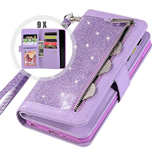 Note 9 Wallet Case with Strap for Women,Auker 9 Card Holder Bling Glitter Leather Flip Magnetic Wallet Case with Stand&Money Pocket Full Protective Zipper Purse Case for Samsung Galaxy Note9 (Purple) (Holder 9 Card Wallet)