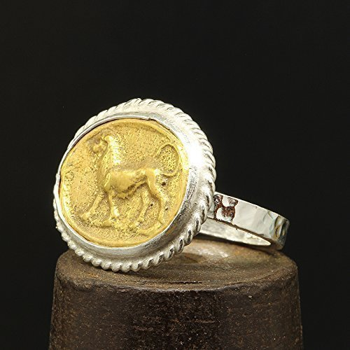 (Lion Ancient Roman Art Coin Ring 925 Sterling Silver 24K Yellow Gold Vermeil Two Tone Handcrafted Hammered Artisan Signet Greek Coin Ring)