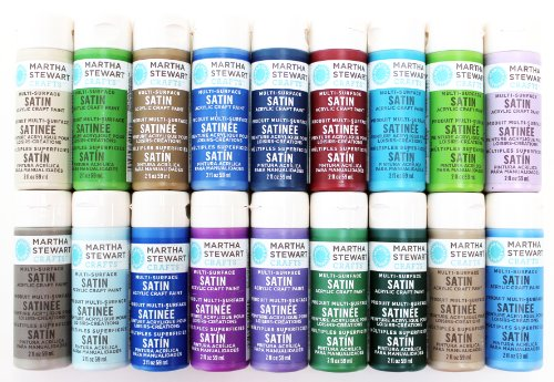 Martha Stewart Crafts Multi-Surface Satin Acrylic Craft Paint (2 Ounce), PROMO767D Best Selling Colors -