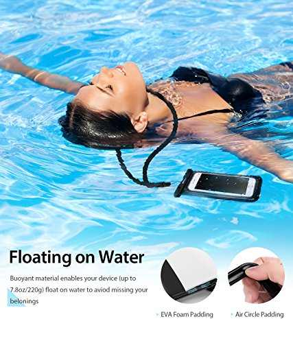 Mpow [ upgraded ] Floating Waterproof Case, IPX8 Waterproof Phone Case Underwater New Type TPU Dry Bag for iPhone 8/8plus/7/7plus/6s/6/6s plus Samsung galaxy s8/s7 Google Pixel HTC10 (2-Pack)