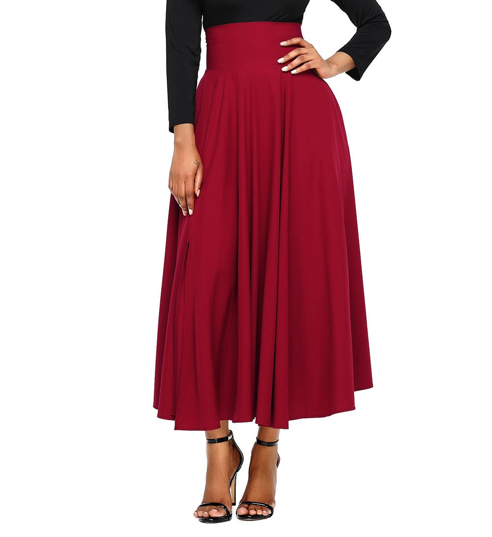 FIYOTE Women Front Slit Ankle Length High Waist Maxi Skirt Small Size Red