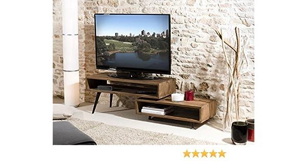 MACABANE – Mueble TV Giratorio Scandi, Teca, marrón, 100 x 40 x 45 cm: Amazon.es: Hogar
