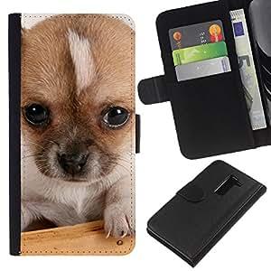 EJOY---La carpeta del tirón la caja de cuero de alta calidad de la PU Caso protector / LG G2 D800 / --Pequeños Ojos Mutt perro de cachorro