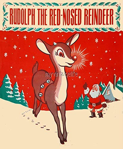 Rudolph The RED-Nose Reindeer Fabric Block 4 Sizes Christmas Santa Claus Vintage Retro Style (5