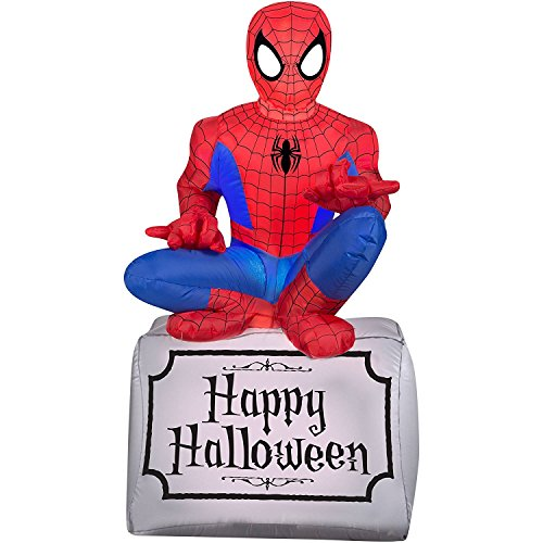 Gemmy Airblown Inflatable Halloween Spiderman Sitting On Tombstone Yard Decoration, 3.5-feet Tall]()