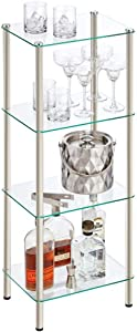 mDesign Household Floor Storage Rectangular Tower, 4 Tier Open Glass Shelves - Compact Shelving Display Unit - Multi-Use Home Organizer for Bath, Office, Bedroom, Living Room - Satin/Clear