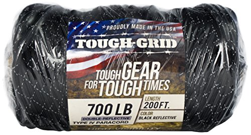 TOUGH-GRID New 700lb Double-Reflective Paracord/Parachute Cord - 2 Vibrant Retro-Reflective Strands for The Ultimate High-Visibility Cord - 100% Nylon - Made in USA. - 100Ft. Black Reflective by TOUGH-GRID (Image #4)