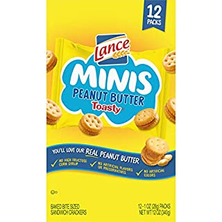 Lance Sandwich Crackers Minis, Toasty Peanut Butter, Snack Packs 12 Ct