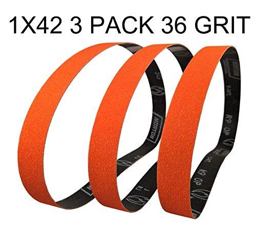 Norton SG Blaze Plus 1x42 36 Grit Ceramic sanding Sharpening Belts 3 Pk - Long Lasting by Pro Sharpening Supplies
