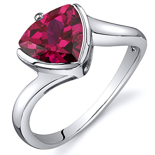 Created Ruby Solitaire Ring Sterling Silver Rhodium Nickel Finish Trillion 2.50 Carats Sizes 5 to 9