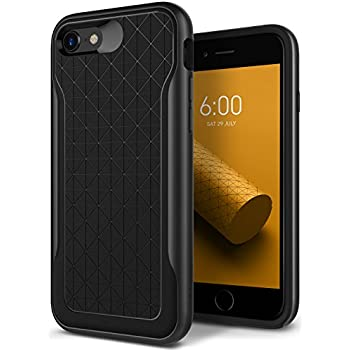 Caseology [Apex Series] Case for iPhone 8 / iPhone 7 - Slim Design Protective Dual Layer Textured Cover Secure Grip Geometric - (Black / Warm Gray)