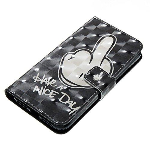 Etui Support Housse à Painted 3D 3D Painted de Portefeuille BONROY Cat Gray Carte Cover Rabat Cuir iPhone Etui Case Fingers Slots 9 XwaaBq6PE