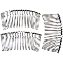 Enchanted Brides 27 Teeth Fancy DIY Metal Wire Hair Combs for Bridal Wedding Veil Combs(#C265svx3)
