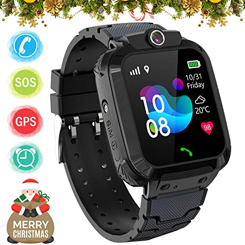 Kids GPS Smart Watch Phone for Boys Girls - Waterproof GPS Locator Smartwatch Phone with 2 Ways Call Camera Voice Chat SOS Alarm Clock Game Pedometer Wristband Gift for Student Birthday, Black