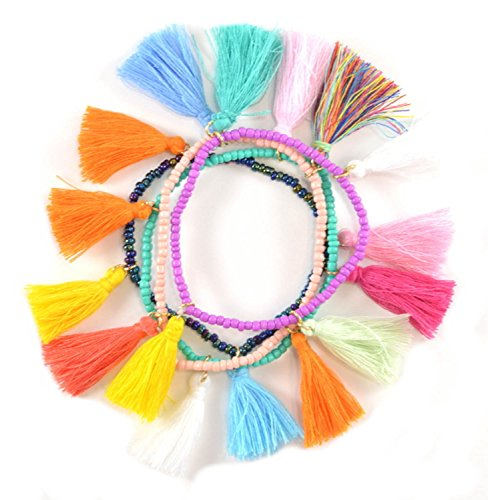 Purple Peridot Multi Color Tassel Bracelet
