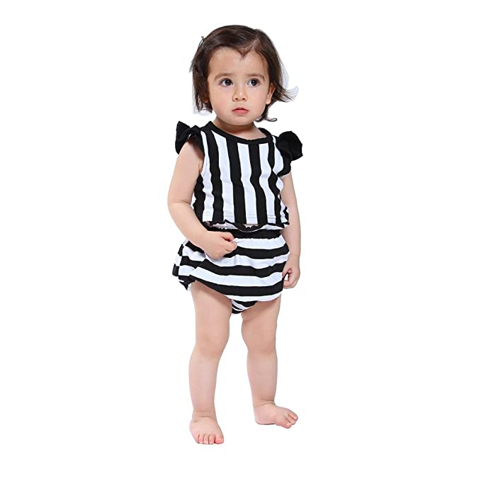 Ding Dong Baby Girls Summer Striped Sleeveless Tops Underwear Outfit Sets  M