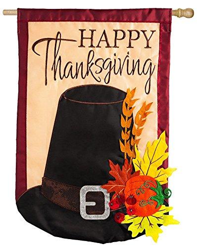 Evergreen Happy Thanksgiving Harvest Hat Applique House Flag, 28 x 44 ()