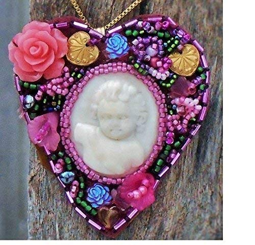 Neo-Victorian Beaded Heart Hand Carved Bovine Bone Cherub, Angelic Putti Brooch Pendant, Bead Embroidery Flowers, Hearts, Carved Coral Rose. ONE OF A KIND!