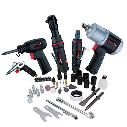 (EXELAIR by Milton 50-PC Light-weight Composite Automotive Air Tools with High Torque Impact Wrench, Ratchet, Die Grinder, Air Hammer & Blow Gun)