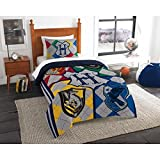 LO 2 Piece Kids Yellow Blue Red Grey Harry Potter Themed Comforter Twin Set, Hogwarts Pattern Bedding for HP Fans Merchandise Fan Gear Stripes Crow Movie Series Decor, Polyester