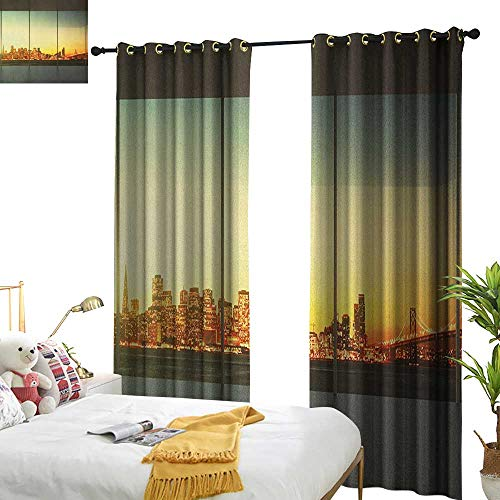 Littletonhome Sliding Curtains Modern Empty Office at Sunset with View to Skyline Architecture Downtown City Art Home Garden Bedroom Outdoor Indoor Wall Decorations W108 x L84 Orange Grey Green