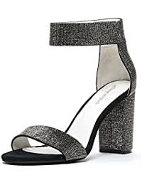 Lindsay JS, Rhinestone Dress Sandal, Black