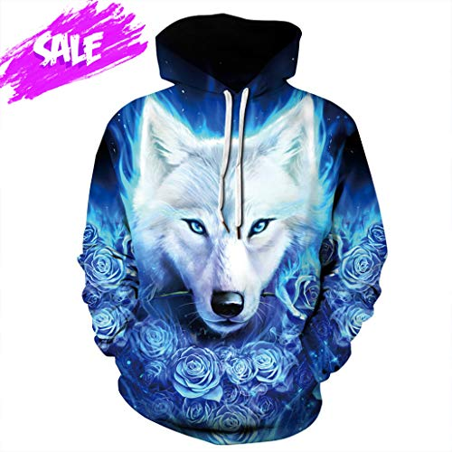 NEWCOSPLAY Unisex Harajuku Realistic 3D Digital Print Pullover Hoodie Hooded Sweatshirt Sweaters (XXL, Blue Rose - Pullover Sweater Rose