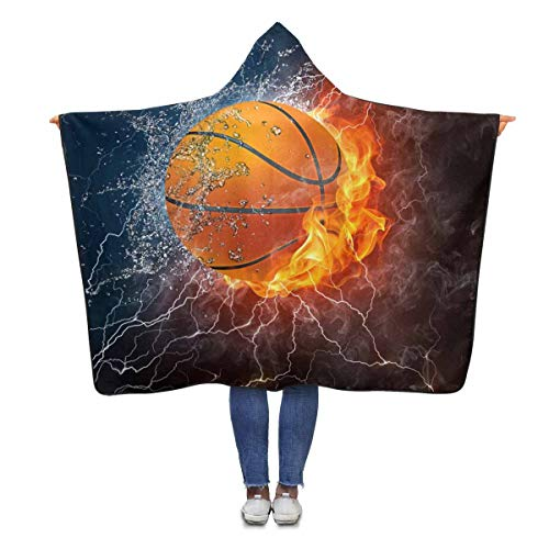 Basketball Hooded (InterestPrint Basketball Fire Water Wearable Hooded Blanket 80 x 56 inches Adults Girls Boys Polar Fleece Blankets Throw Wrap)