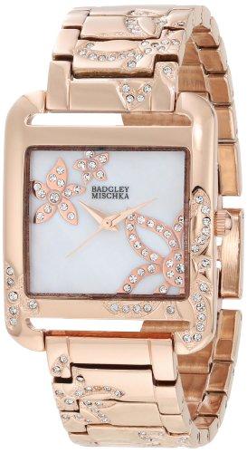 Badgley Mischka Women's BA/1236WMRG Swarovski Crystal Floral Accented Rose Gold-Tone Bracelet Watch