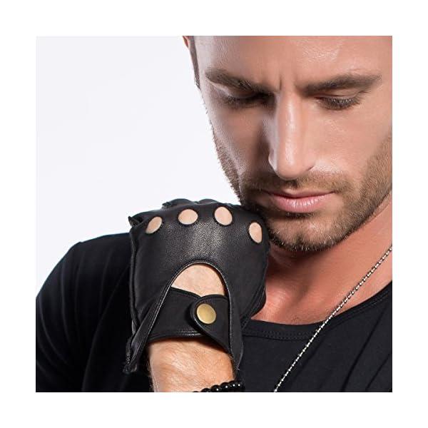 MATSU Half Finger Mens Leather Gloves Fingerless Unlined Black M1076S 4