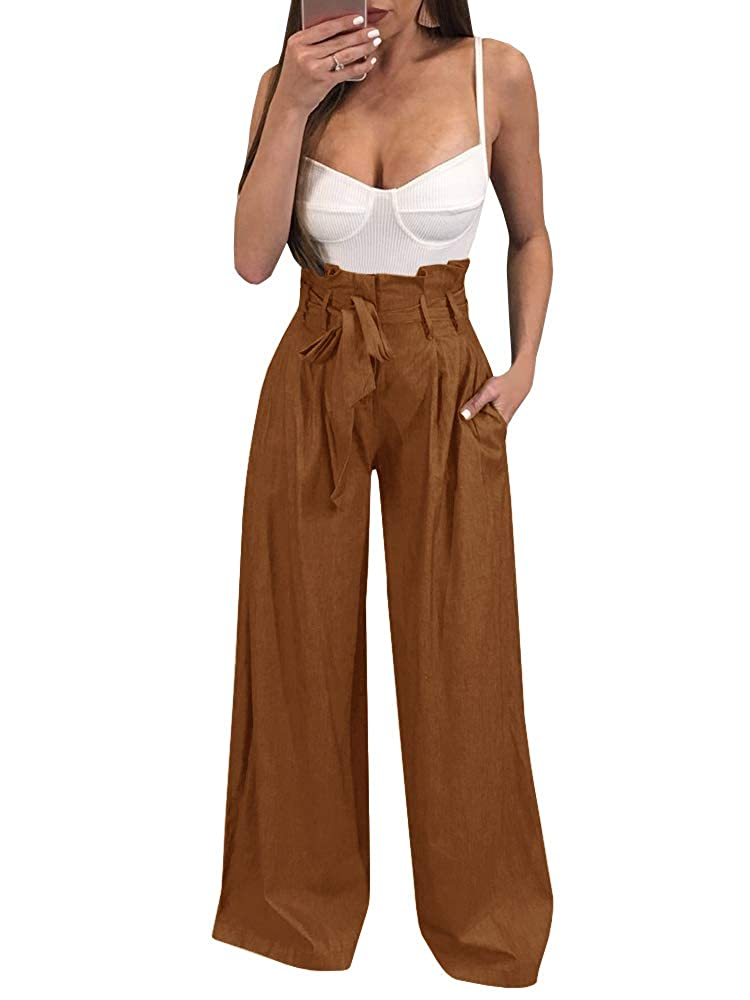 Brown Ybenlow Womens High Waisted Palazzo Pants Wide Leg Stretch Trouser Pant Belted with Pockets