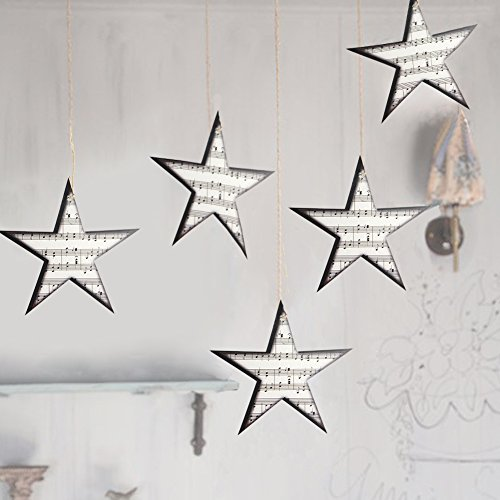 Music Themed Christmas Trees - 12Pcs Retro Paper Music Star Garland Christmas Tree Ornaments Home Rock Roll Party Decoration SUNBEAUTY