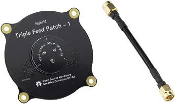 Aihasd Antena de Parche de alimentación Triple de 5.8GHz 9.4dBi, Macho SMA de Alta precisión a SMA Adaptador de Cable Macho, Antena polarizada ...