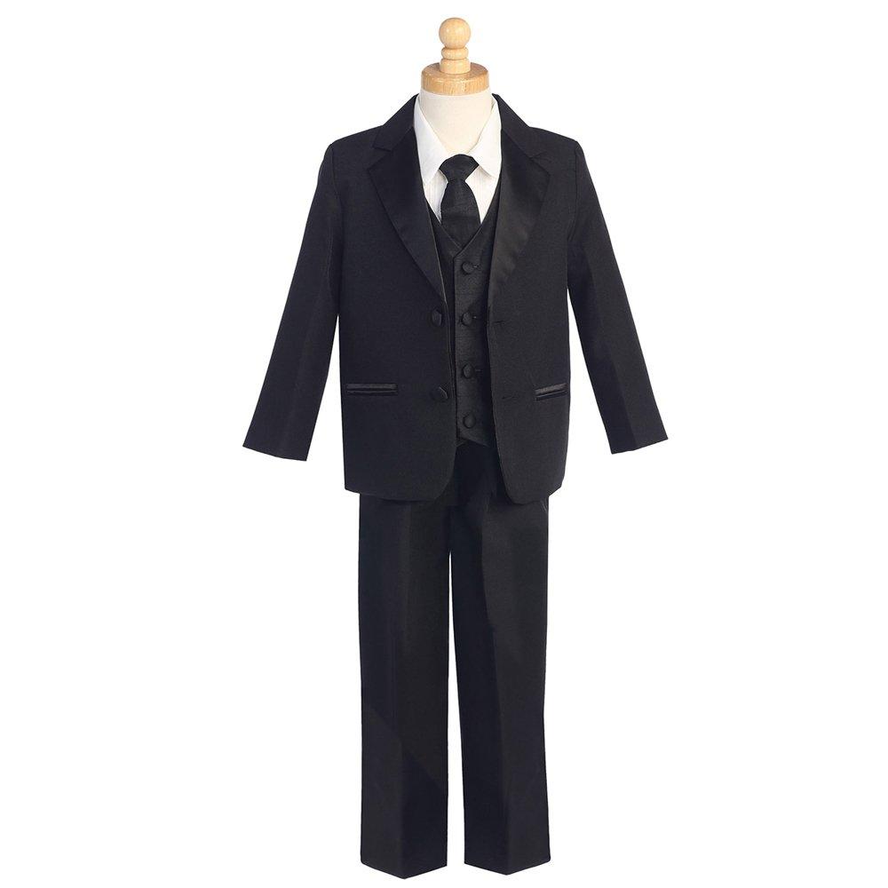 HBDesign Boys 4 Piece 2 Button Slim Trim Fit Casual Suits Black Jacket+Vest+Pants+tie