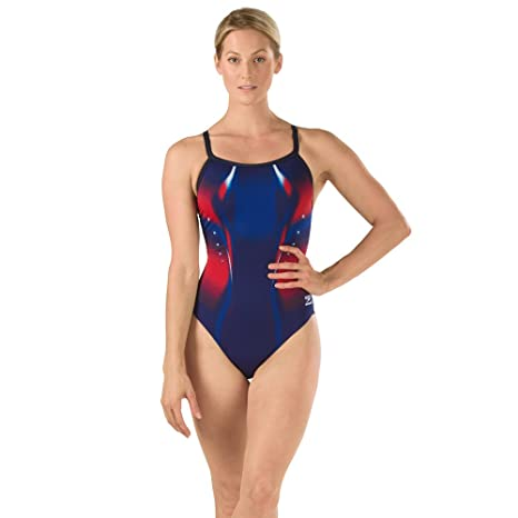 3a6a9b6ce7c Speedo Women's Endurance+ Warp Drill Back Rio Americana One Piece Swimsuit,  Navy/Red/