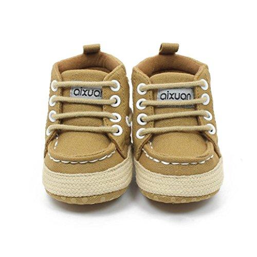 Tefamore Zapatos Del Pesebre Las Zapatillas de Deporte Suaves De Los Muchachos De Las Muchachas Del Niño Atan Para Arriba Los Prewalker (Tamaño: 11, Caqui)