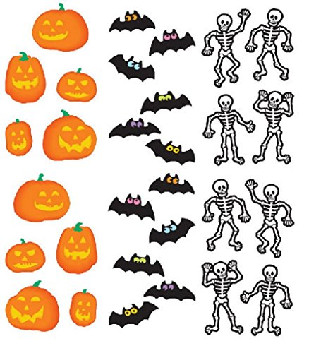 (Mrs. Grossman's Halloween Stickers, Set D - Jack-O-Lantern, Bats & Skeletons)