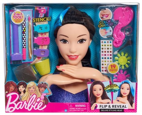 Barbie Flip and Reveal Deluxe Styling Head  Black To Blue Hair