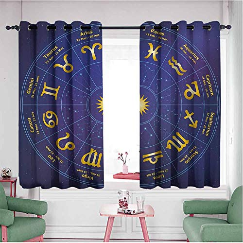 KAKKSW Indoor/Outdoor Curtains, Bedroom Living Room Decoration, Horoscope Zodiac Signs with Birth Dates in Circle with Star Dots Print, 63