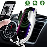 Wireless Car Charger Mount,Automatic Clamping Air Vent Phone Wireless Car Charger Holder,10W/7.5W Qi Fast Car Charging,Compatible with iPhone Xs MAX/XS/XR/X/8/8+, Samsung S10/S10+/S9/S8 (Silver)