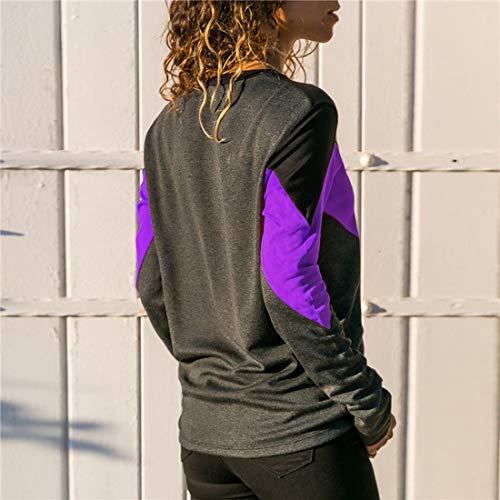 et Pulls Blouse Shirts Fr Col Sweat Rond Casual Hauts Violet Tops Tees Shirts Patchwork Fashion Printemps Fox Longues Automne ulein Femmes T Manches 61xt1qTw