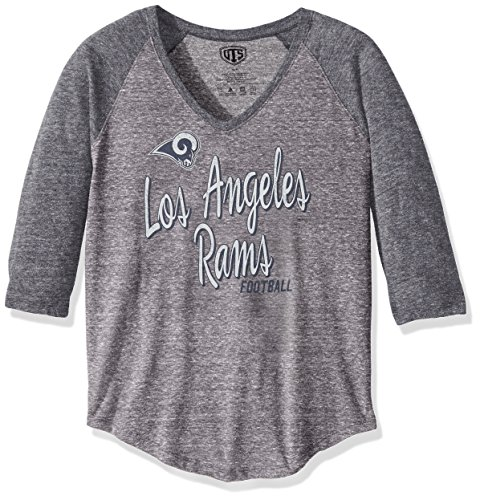 NFL Los Angeles Rams Women's OTS Triblend Raglan Tee, Vintage Grey, X-Large