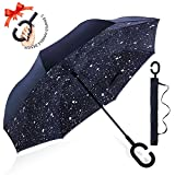 : ZOMAKE Double Layer Inverted Umbrella Cars Reverse Umbrella, UV Protection Windproof Large Straight Umbrella for Car Rain Outdoor With C-Shaped Handle(Night Sky)