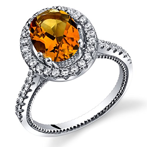 - Created Padparadscha Sapphire Halo Milgrain Ring Sterling Silver 3.25 Carats Size 5