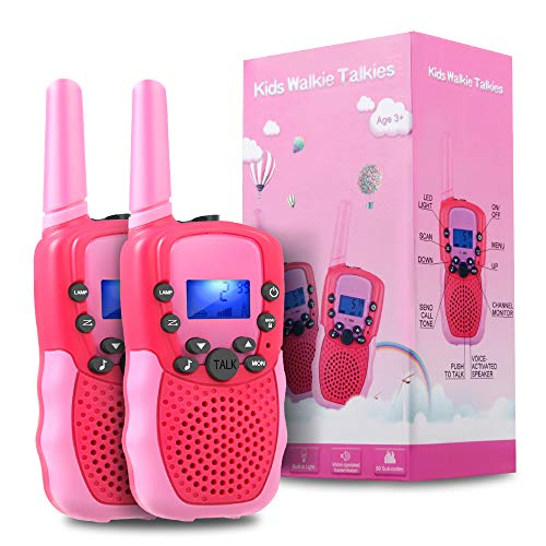 TekHome 2019 Pink Walkie Talkies for Girls, 2 Pack Kids Toddler Mini Walkie Talkies Long Range 3-Mile for Hiking, FRS/GMRS 22 Channels, Outdoor Toys for Toddlers Age 3-5, 3-12 Year Old Girl Gifts. (Best Price Walkie Talkies)