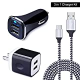 USB Type C Car Charger, Wall Charger, HUHUTA 2.1A Dual Port Charger Block Adapter Nylon Braided USB C Cable 6ft for Samsung Galaxy S9/ S8, LG G7 G6 V30 V20, Google Pixel,Nexus 6p 5X, ChromeBook,Moto Z